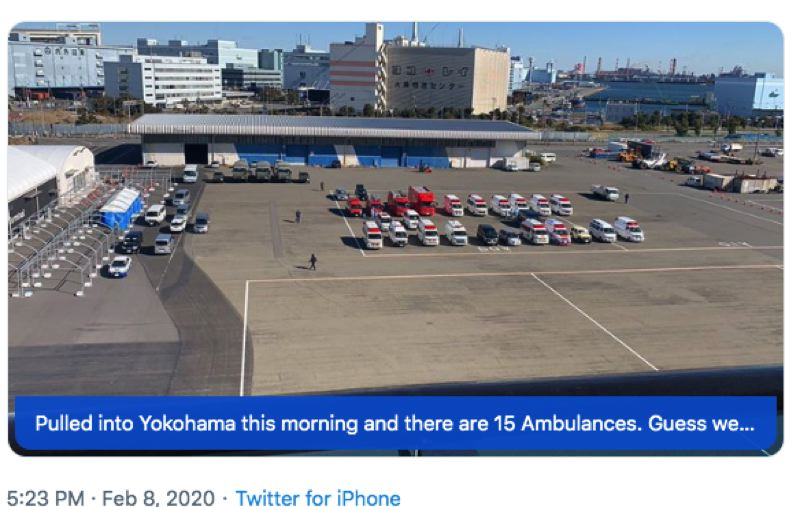 KENT FRASURE VIA TWITTER - A photo shows a parking lot in Yokohama, Japan, where ambulances wait to transport people from a cruise ship.