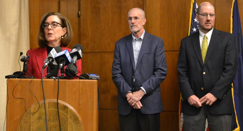 "OREGON CAPITAL BUREAU: CLAIRE WITHYCOMBE - Gov. Kate Brown, Greg Miller, representative of the timber coalition, and Bob Van Dyke of the Wild Salmon Center, announce the ""historic"" deal between logging and environmental interests Monday, Feb. 10."