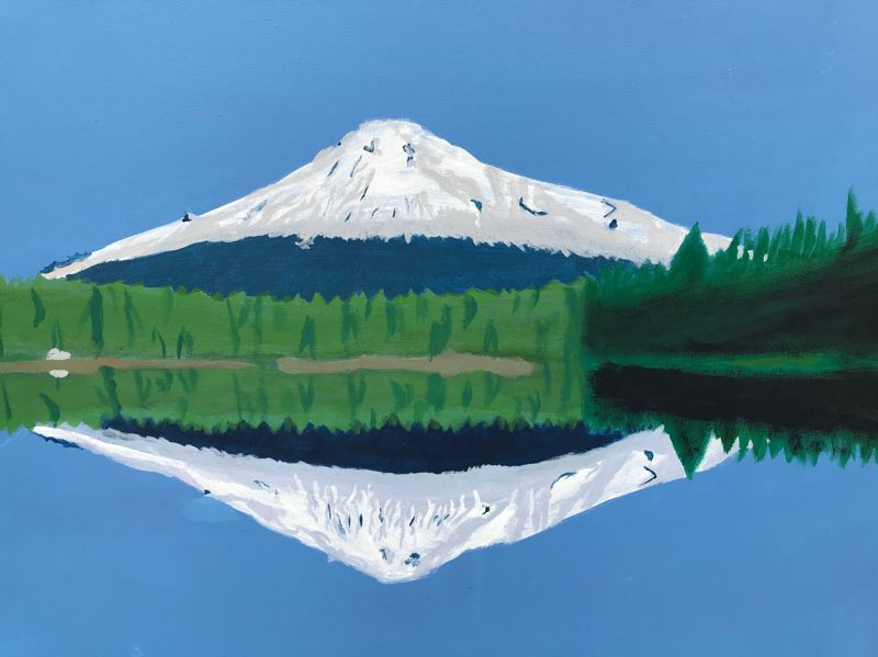 COURTESY PHOTO: GRESHAM ARTS COMMITTEE - The Lake, by almost 11-year-old Grant Hendrickson, depicts the grandeur of Mount Hood from the perspective of Trillum Lake, a popular recreation spot to the south of the snow-capped peak.