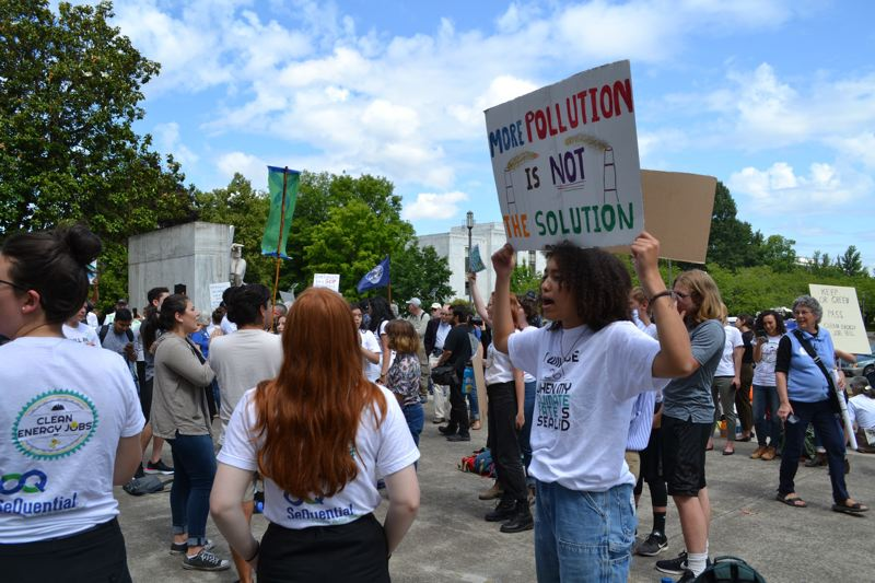 OREGON CAPITAL BUREAU FILE PHOTO - Students and others were part of a June 2019 rally outside the Capitol to support carbon-reduction legislation. Another rally is planned Tuesday, Feb. 11, to support a similar bill.