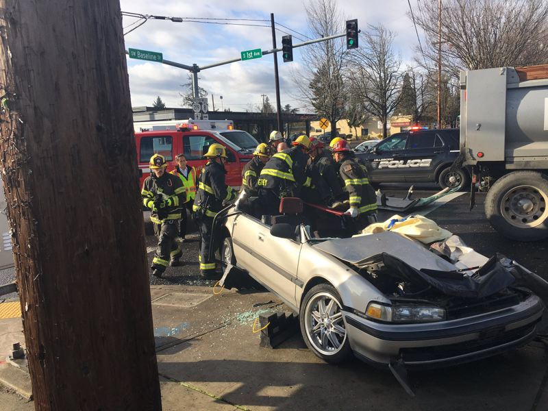 COURTESY PHOTO: HILLSBORO FIRE & RESCUE - First responders attend to the scene of a fatal crash at South First Avenue and Southeast Baseline Street in Hillsboro on Nov. 25, 2019. The Oregon Department of Transportation hopes road improvements beginning soon will make the busy intersection, officially the junction of two state highways, safer for vehicles and pedestrians.