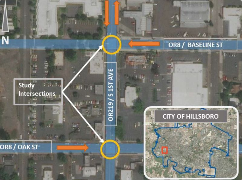 COURTESY MAP: OREGON DEPARTMENT OF TRANSPORTATION - Two intersections where Highway 8 and Highway 219 meet up in downtown Hillsboro will be upgraded this year. Construction starts this month and continues into summer.