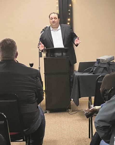 KRISTEN WOHLERS - Canby Mayor Brian Hodson talks to the crowd during his State of the City address Thursday night.