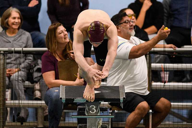 PMG PHOTO: CHRISTOPHER OERTELL - Forest Grove's Ryan Perez competed in the 200 yard individual medley at a swim meet at the Forest Grove Aquatic Center in Forest Grove earlier this season.