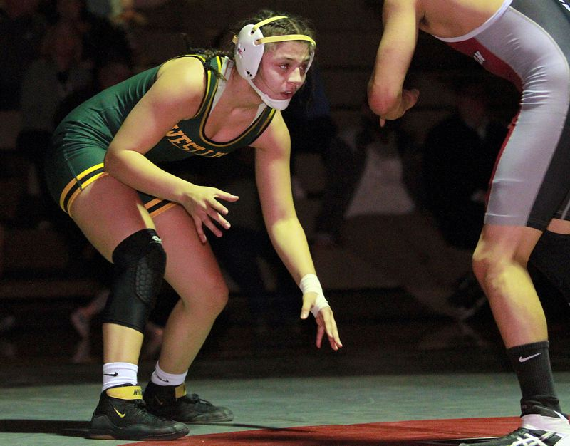 PMG PHOTO: MILES VANCE - West Linn freshman Destiny Rodriguez (shown here against Tualatin) won the 145-pound title at the OSAA Girls North Regional tournament at Century High School on Friday and Saturday, Feb. 7-8.