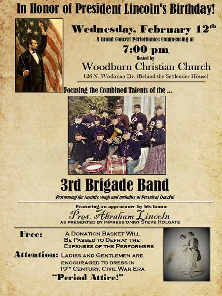 COURTESY PHOTO - The 3rd Brigade Band will perform a variety of Civil War-era music at the Woodburn Christian Church on Wednesday. Period attire is encouraged for fun, but not required.