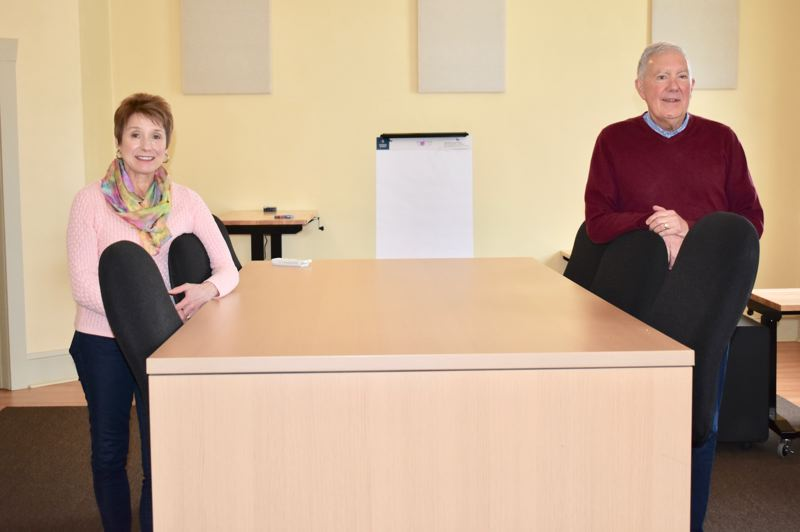 PMG PHOTO: EMILY LINDSTRAND - Tom and Marianne Wille have created a new co-working space on the second floor of the Mason Building in downtown Estacada.