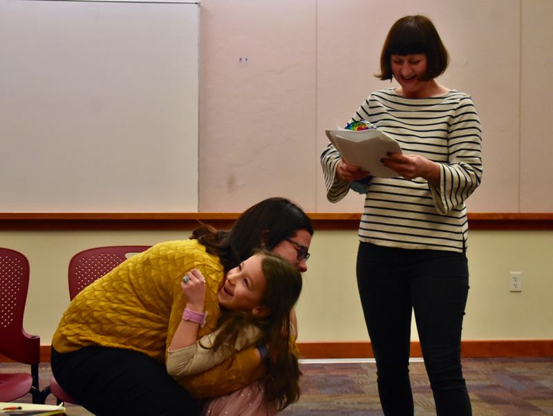 PMG PHOTO: EMILY LINDSTRAND - Jean Hiebert Larson, Ellie Larson and Alycia Schieberl rehearse for 'Clarity,' which will be part of the Performing Arts Group of Estacada's upcoming one act play showcase 'Be Careful What You Wish For.'