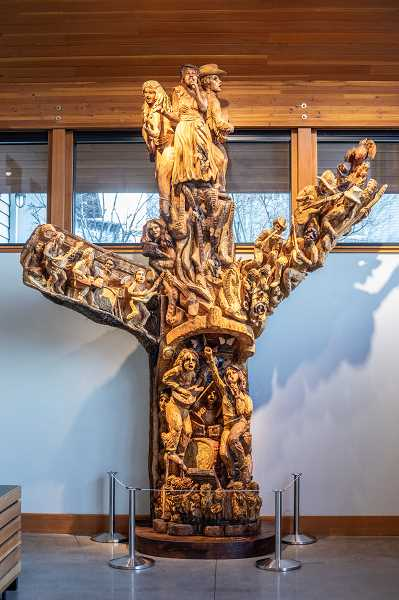 PMG PHOTOS: JONATHAN HOUSE  - One Tree- Many Songs was installed inside Youth Music Project in West Linn. The sculpture was made from a 100-year-old maple tree that had to be cut down on the property.