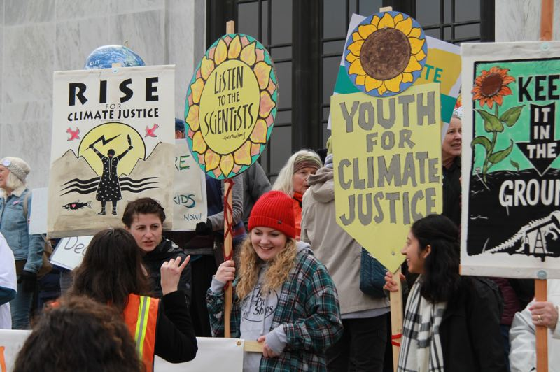 OREGON CAPITAL BUREAU: SAM STITES - More than 1,000 people attended the climate action rally Tuesday, Feb. 11, at the Oregon state Capitol, according to Renew Oregon, the group that organized the event.