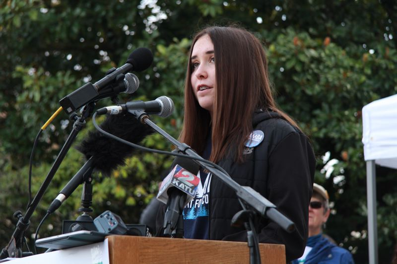 OREGON CAPITAL BUREAU: SAM STITES - Newport High School student Maia Stout, 15, talks about what climate action means to her and why it's urgent that Oregon lawmakers pass cap and trade legislation this year during a rally at the Capitol Tuesday, Feb. 11.