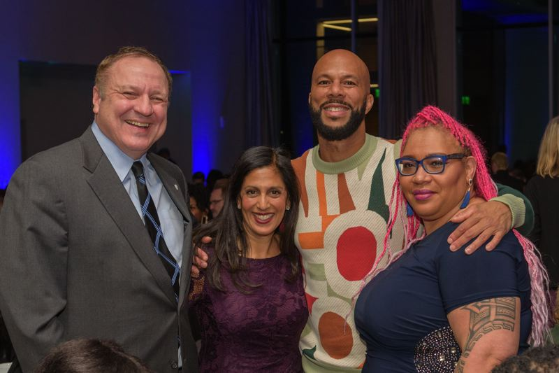 PHOTO: ANDIE PETKUS - An awards gala and scholarship fundraiser for Concordia University  was held just days before the college announced its planned closure. Pictured here: Interim President, Rev. Tom Ries, award recipient Swati Adarkar, rapper, poet, activist and keynote speaker Common, and event emcee Kimberely Dixon.