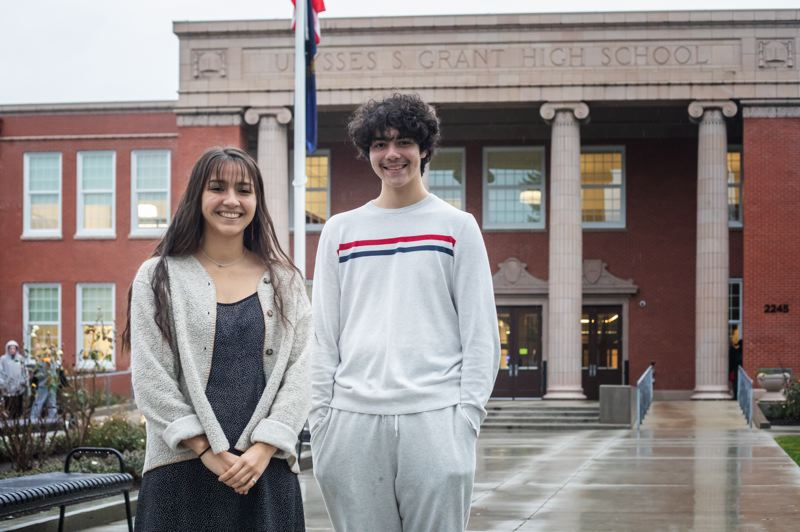 PMG PHOTO: JONATHAN HOUSE - Aanii Tate and Jackson Wolfe, members of Grant High School's Indigenous Peoples Student Union, say old murals in the school should be removed, not restored.