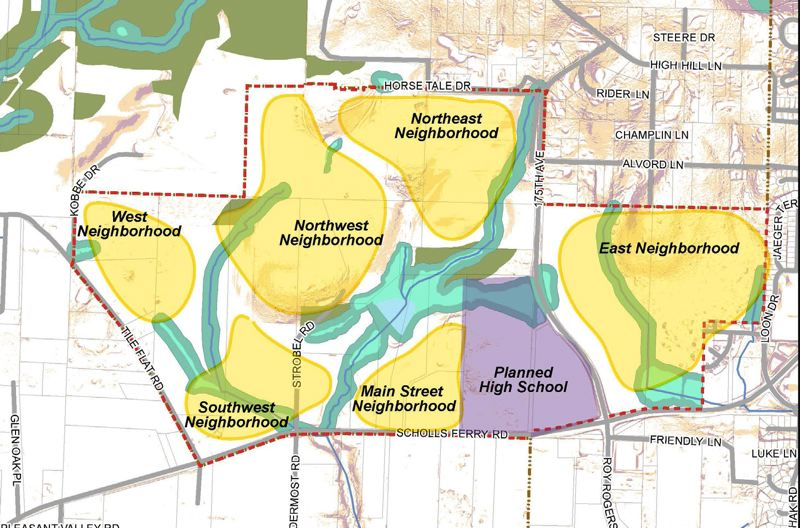 COURTESY MAP: CITY OF BEAVERTON - The South Cooper Mountain Annexation Area, as it is officially described in Beaverton planning documents, is divided up into different neighborhood blocs. The high school campus, Mountainside High School, opened in 2017. The East Neighborhood, across Southwest 175th Avenue from the high school, already has a smattering of homes sold and occupied.