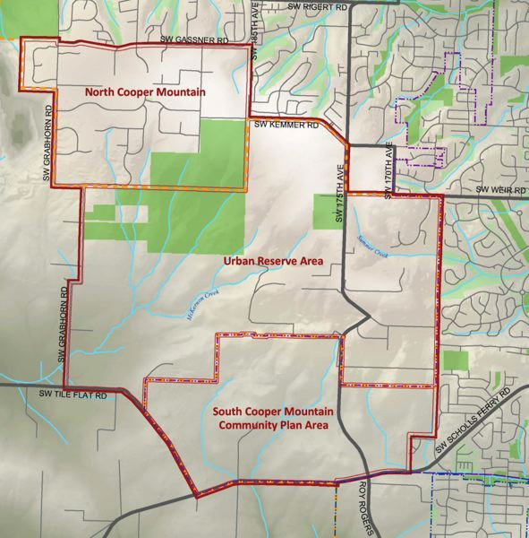 COURTESY MAP: CITY OF BEAVERTON - Beaverton has divided up the South Cooper Mountain area into three distinct zones, including North Cooper Mountain, a residential area south of Southwest Gassner Road that is currently part of unincorporated Washington County. So far, just the South Cooper Mountain Annexation Area has been brought into city limits, although the entire planning area is inside Metro's urban growth boundary.