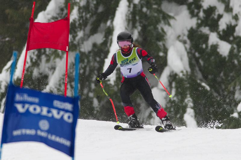 COURTESY PHOTO: MIKE JULIANA - Tualatin High School senior Caylum Tippett helped the Timberwolves take fifth place in the team standings at the Metro League giant slalom event.