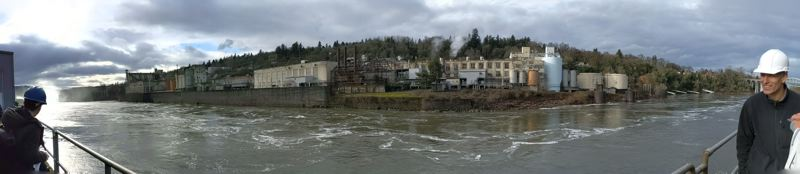 PAMPLIN MEDIA GROUP: JOSEPH GALLIVAN - The Willamette Falls Paper Company in West Linn as seen from the site of the abandoned paper mill on the Oregon City side of the Willamette. PGE owns the buildings on the left third of the photo.