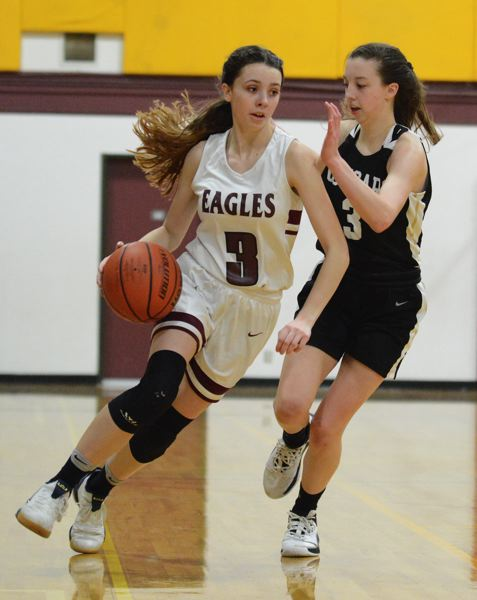 PMG PHOTO: DAVID BALL - Damascus Christians Emily Powers had a game-high 16 points and the winning layup with six seconds left in the Eagles 35-33 win at Southwest Christian on Tuesday.