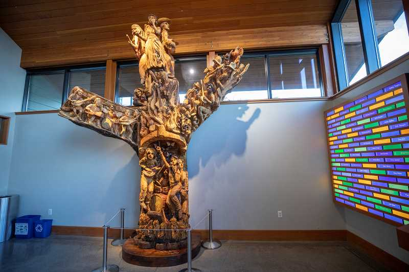 It took Skip Armstrong about a year to determine how he wanted to carve the maple trunk, then about two months to execute it. The sculpture was unveiled at his compound Dec. 1, then transported to West Linn for installation.