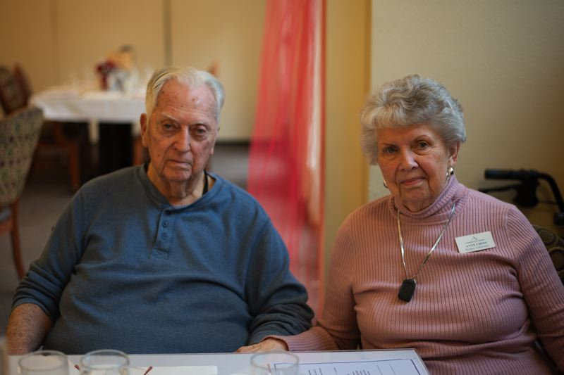 PMG PHOTO: ANNA DEL SAVIO - Jim and Anne Cross eat lunch at Avamere at St. Helens, where they've lived for years.