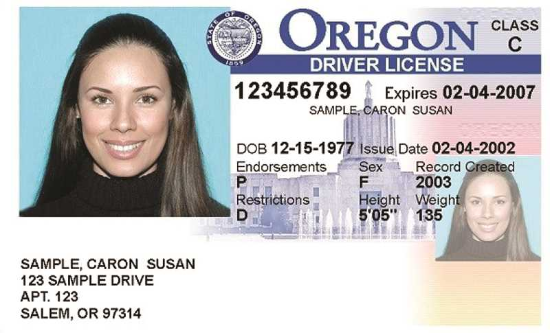 PHOTO COURTESY OF OREGON DMV - Oregon legislators are contemplating a change in state law that would end the practice of taking away driver's licenses due to unpaid traffic fines.