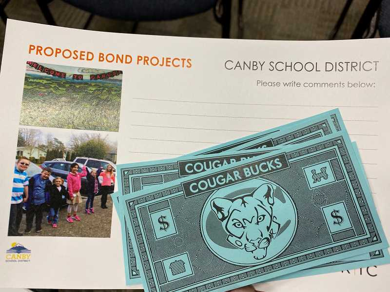 PMG PHOTO: KRISTEN WOHLERS - Community members attending the meeting on Feb. 11 were given five 'Cougar Bucks' and asked to use them to prioritize potential extra projects that could be completed with grant monies received if a May bond is passed.