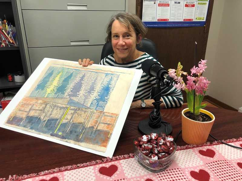 """GABBY URENDA - Painter and mixed media artist Nancy Helmsworth. Her work will be featured at the new gallery exhibit called """"Layers"""" at the Walters Cultural Arts Center in Hillsboro through March 27."""