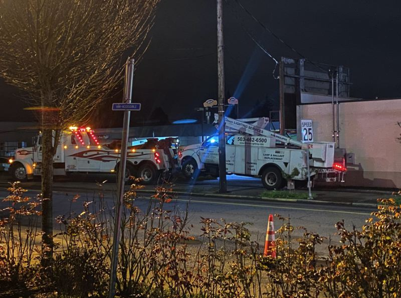 KOIN IMAGE - The truck that hit and fatally struck a man in Southeast Portland is shown here.