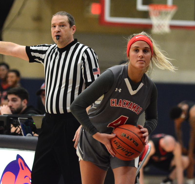 PMG PHOTO: DAVID BALL - Clackamas guard Kylie Guelsdorf looks to make an inbounds pass on the games final play in the Cougars 63-61 loss to Mt. Hood on Wednesday.