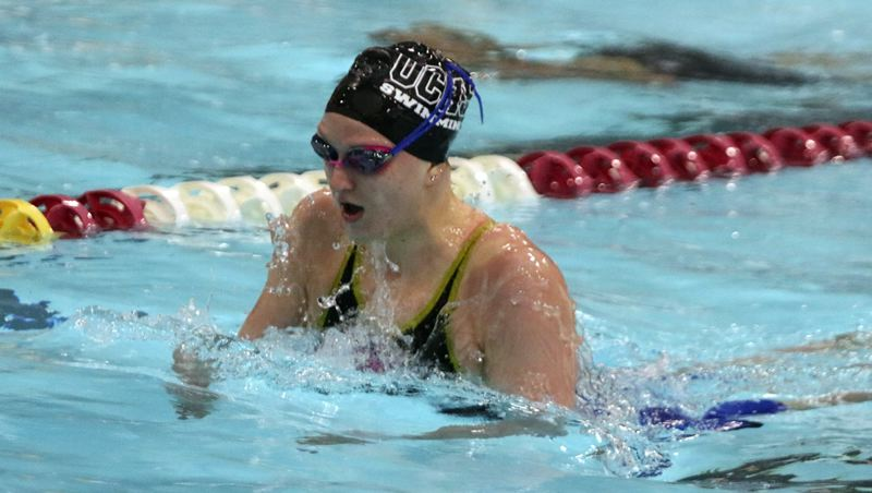 PMG PHOTO: JIM BESEDA - Oregon City junior Jane Shroufe won the girls 100-yard breaststroke in 1:04.90 in Saturday's finals of the Three Rivers League swimming champioships at Mt. Hood Community College in Gresham.