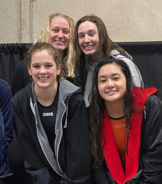 PMG PHOTO: JIM BESEDA - Oregon City's 200-yard medley relay team of (clockwise from top left) Jane Shroufe, Grace Zarosinski, Michelle Vu, and Ashlyn Watt placed first at Saturday's district finals.