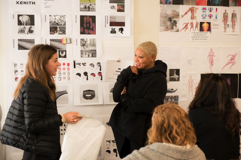 COURTESY PHOTO - Designer Angela Medlin (right), founder of FAAS (Functional Apparel & Accessories Studio), is part of the new 'We Design' exhibit.