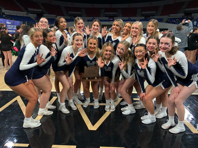 COURTESY PHOTO - Wilsonville cheer brought home a third place trophy from the state competition Saturday at Veterans Memorial Coliseum in Portland.