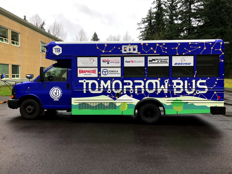 COURTESY PHOTO: TERESA CARSON - The Tomorrow Bus didn't triumph in the Samsung contest, but the Gresham-Barlow School District made the mobile STEAM lab a reality.