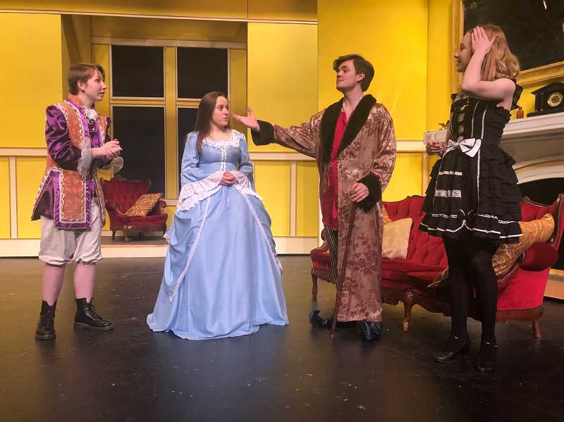 PMG PHOTO: COREY BUCHANAN - Left to right: Wilsonville High students Katie Walter, Samantha Katz, Casey Young and Averyl Hartje rehearse for their upcoming performance of 'Imaginary Invalid.'