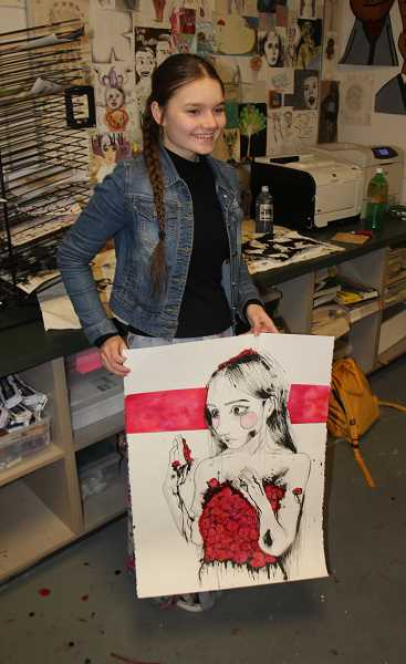 PMG PHOTO: JUSTIN MUCH - Woodburn High School junior Alexandra Ivanov displays her drawing & illustration, 'Pain is Beauty,' which earned her a Gold Key as part of the 2020 Oregon Scholastic Art Awards.