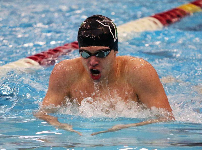 PMG PHOTO: DAN BROOD - Nathaniel Whitehead, a junior on the Tigard High School boys swim team, took second place in the 200-yard individual medley event at the Three Rivers League district meet.