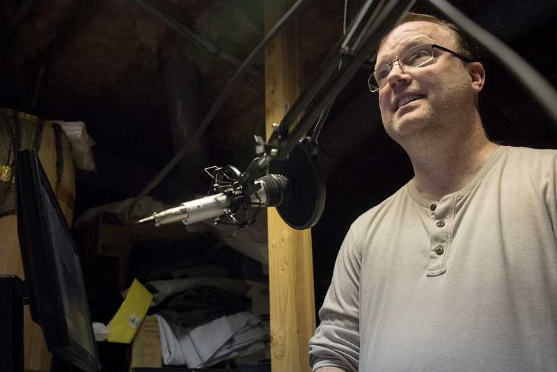 PMG PHOTO: JAIME VALDEZ - Tom Green, who creates training content for a software company by day, becomes the game master of Inglorious Barbs each Thursday night during elaborate recording sessions. Green, a Bull Mountain resident, has been playing roleplaying games for 38 years.