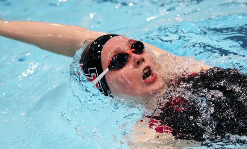 PMG PHOTO: DAN BROOD - Tualatin High School senior Abbi Karsseboom took second place in the 200-yard individual medley event during Saturday's finals at the Three Rivers League district swim meet.