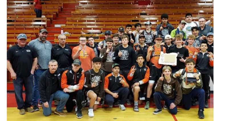 SUBMITTED PHOTO - The Culver Bulldog wrestling team scored 308.5 points as a team to become the 2A/1A Special District 4 champions Feb. 15.