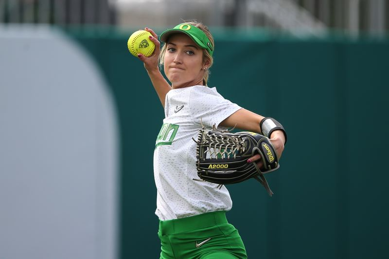 COURTESY PHOTO: ERIC EVANS - Senior center fielder Haley Cruse anchors the University of Oregon outfield.