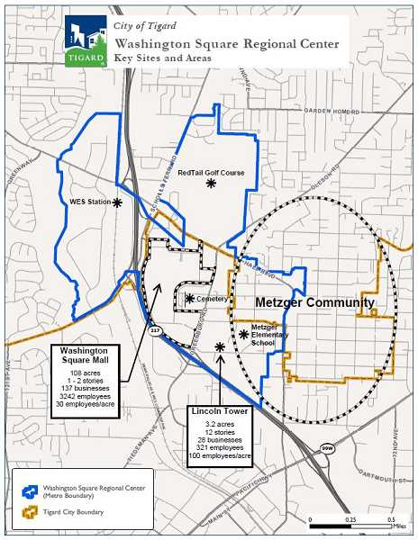 COURTESY MAP: CITY OF TIGARD - The Washington Square Regional Center Plan not only includes the shopping mall but incorporates an 827-acre site that includes the cities of Tigard, Beaverton and unincorporated Washington County.