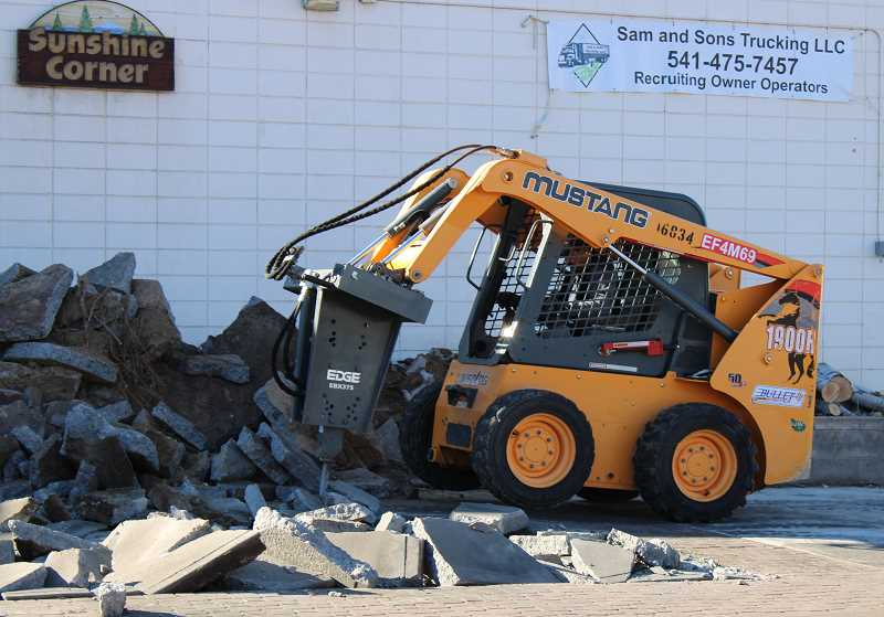 TERESA JACKSON/MADRAS PIONEER - Reynoso Food Corner is preparing for construction of three food kitchens at the former Sunshine Corner in Madras. Work continued Wednesday, Feb. 12, on the site.