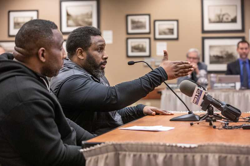 PMG PHOTO: JON HOUSE - Tre Hester asks for a plan of action from City leaders during public testimony of a special West Linn City Council session, addressing the false arrest of african american Michael Fesser in 2017.