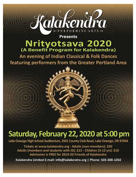 Enjoy the colorful performance by Kalakendra Performing Arts at Lake Oswego High School Feb. 22.