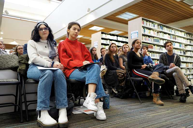 PMG FILE PHOTO - Last December, students met with the Lake Oswego City Council at the library to push for action during a Climate Strike.