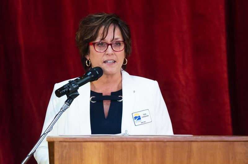 PMG PHOTO: CHRISTOPHER OERTELL - North Plains Mayor Teri Lenahan speaks during the annual State of the City address at the Jessie Mays Community Center on Tuesday, Feb. 18.