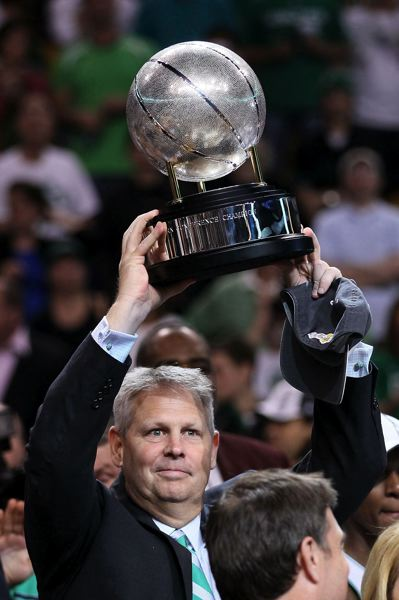 ELSA/GETTY IMAGES - Danny Ainge and the Boston Celtics have hoisted a few trophies, including this one for winning the NBA Eastern Conference in 2010.