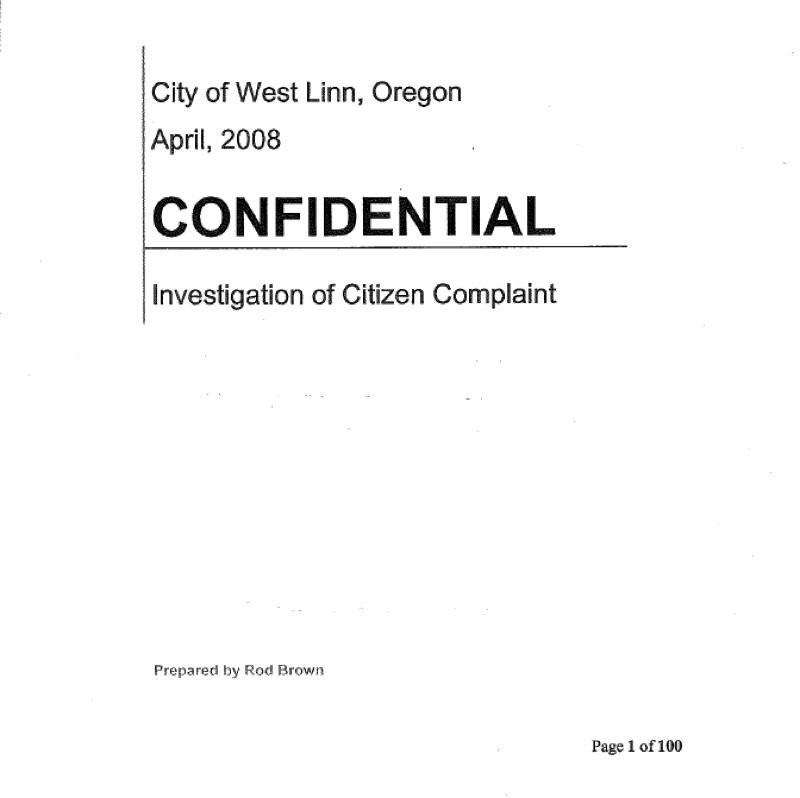 CITY OF WEST LINN - West Linn kept its 2008 investigation of former longtime Chief Terry Timeus under wraps for more than a decade before releasing it Wednesday.