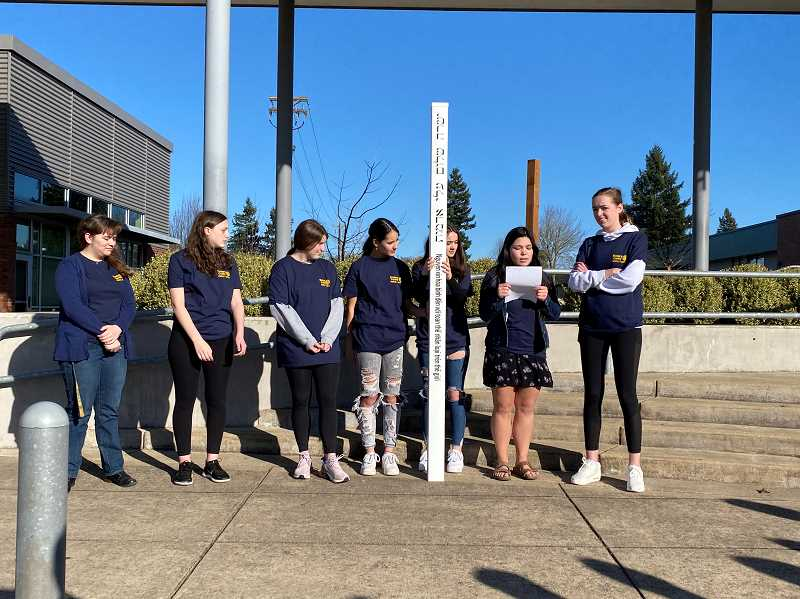 Students install peace pole at Canby High School
